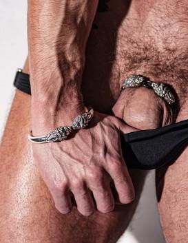 Men's Silver Lion heads torc bracelet