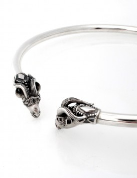 Solid Sterling Silver mens Satyr torc necklace