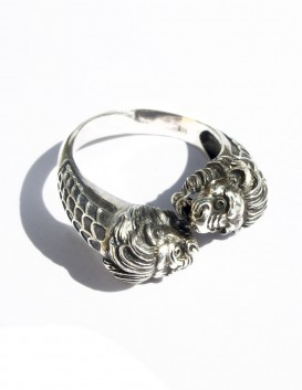 Men's Silver Lion's head torc ring