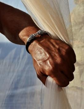 Mens silver & rubber lion torc bracelet