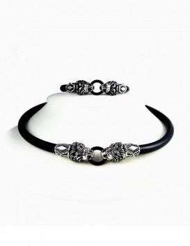 SIlver Lion torc necklace