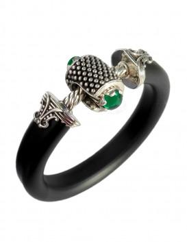 JockRing OMEN - Sterling silver cock ring with gem in British Racing Green gem