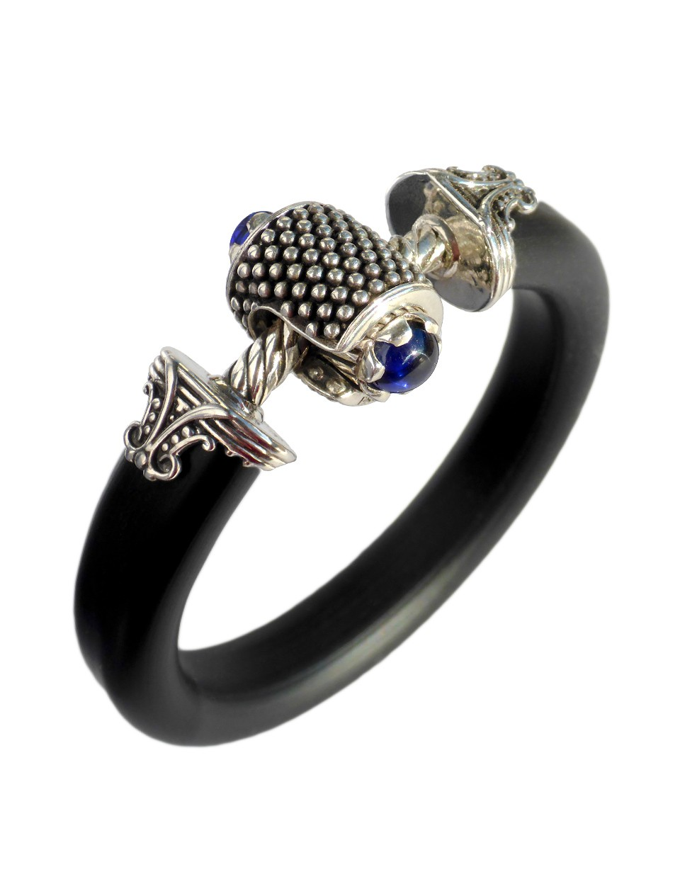 Jockring Omen Imperial Blue Spinel Cabochon In Solid Silver Precious Jewelry