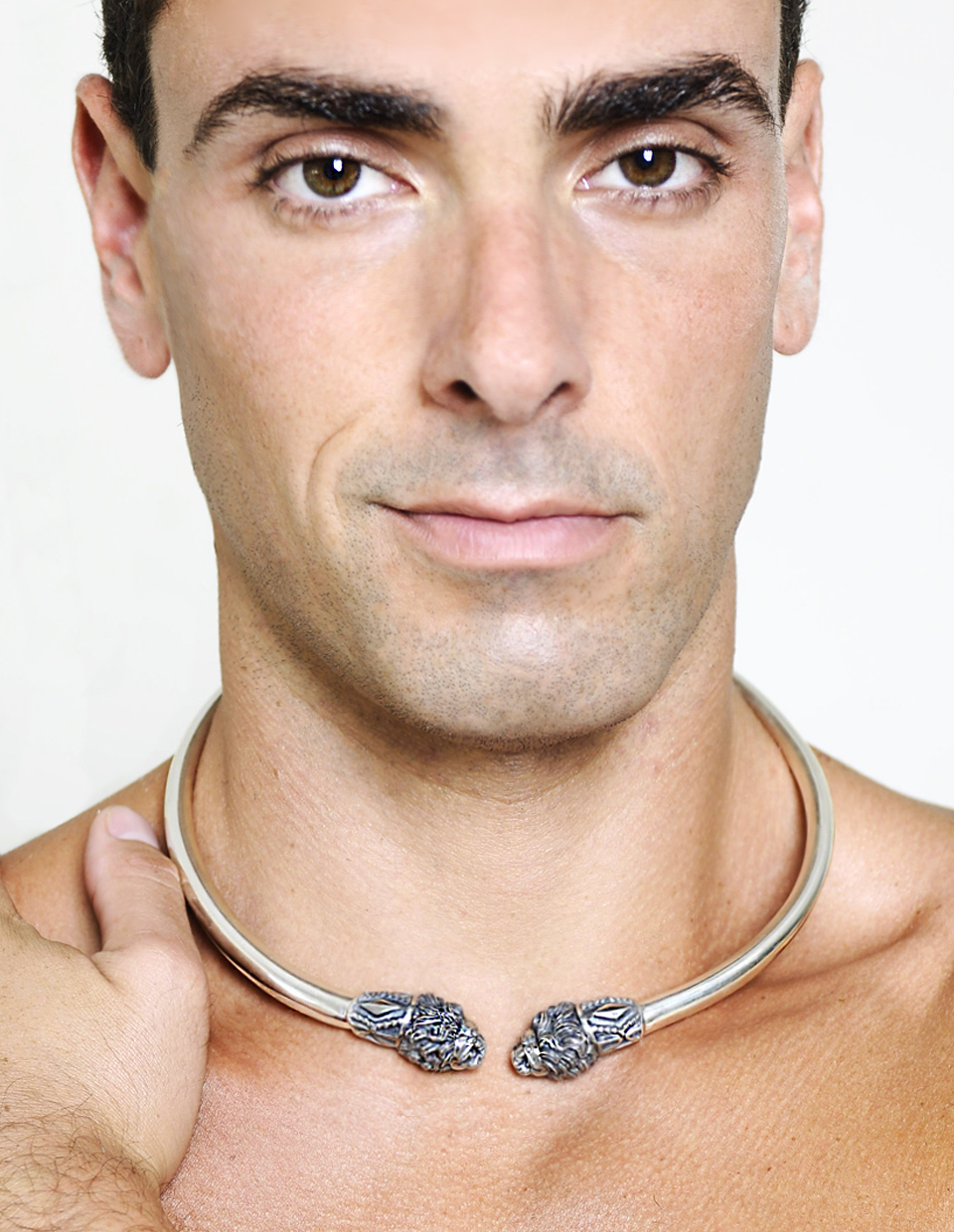 Men's Lion Necklace in Silver. Design by Esculpta. Model Jeremy Bilding